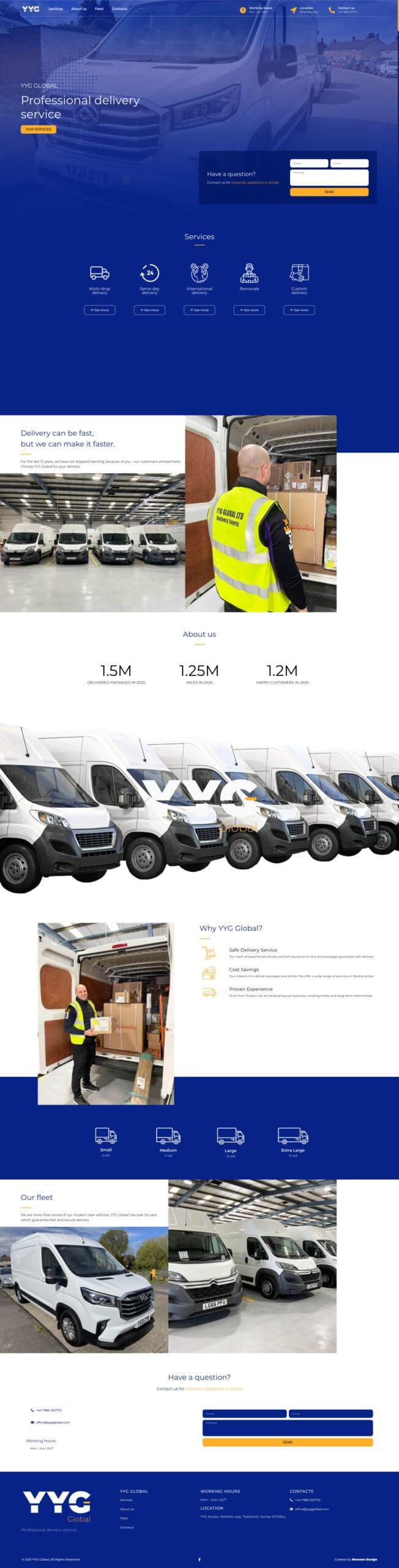 YYG Global изработка на уеб сайт начална страница